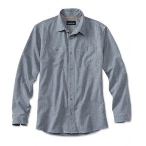 Orvis Tech Chambray Work Skjorte Blå