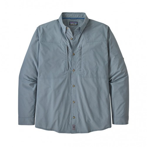Patagonia Ms L/S Sun Stretch Skjorte Chambray:Pigeon Blue