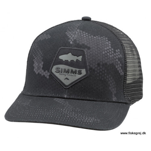 Simms Trout Patch Trucker Hex Camo Carbon