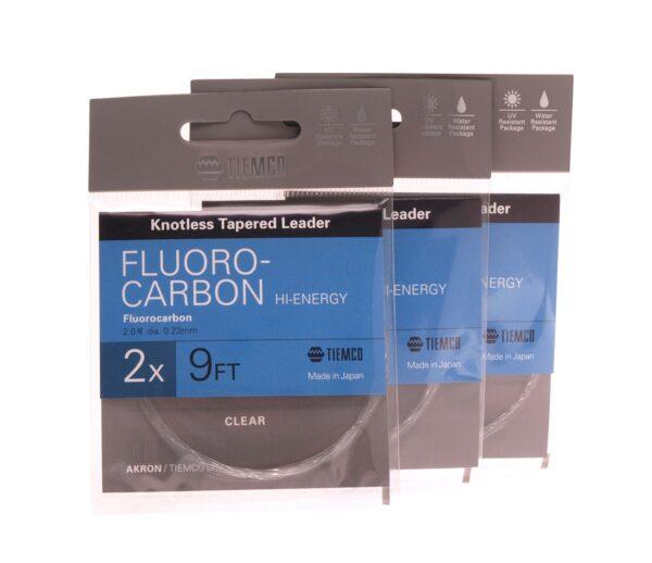 3 stk. akron fluocarbon forfang 9'