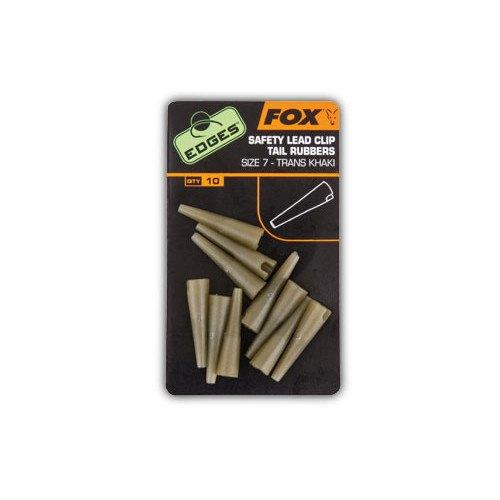 Fox Edges Safety Lead Clip Tail Rubbers Size 7 Trans Khaki