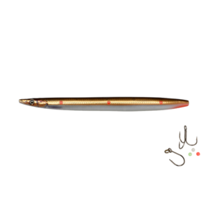 Savage Gear Line Thru Sandeel Hotspot 11cm - 15gr Brown Copper Red Dots - Gennemløber