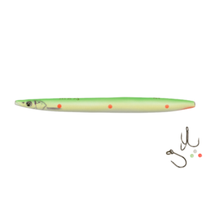 Savage Gear Line Thru Sandeel Hotspot 11cm - 15gr Flou Green Red Dots - Gennemløber